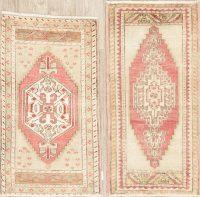 Set of 2 Geometric Oushak Turkish Oriental Wool Rugs 2x3