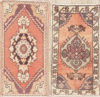 Set of 2 Geometric Oushak Turkish Oriental Wool Rug 2x3