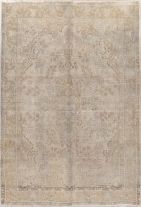 Floral Tabriz Muted Distressed Persian Rug 6x9
