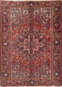 Vintage Geometric Red Heriz Persian Wool Rug 6x9