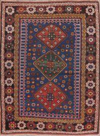 Navy Blue Geometric Kazak Oriental Wool Rug 4x5