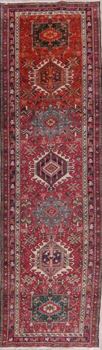 Tribal Geometric Gharajeh Persian Wool Runner Rug 3x11