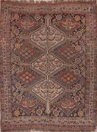 Antique Pre-1900 Navy Blue Qashqai Persian Wool Rug 5x6