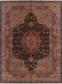 Floral Black Oushak Turkish Oriental Wool Rug 9x11