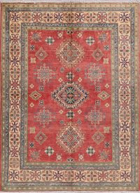 Red Geometric Kazak Pakistan Wool Rug 5x7