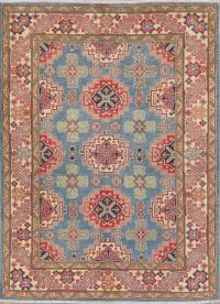 Light Blue Geometric Kazak Pakistan Wool Rug 5x7