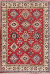 Red Geometric Kazak-Chechen Oriental Rug 5x7