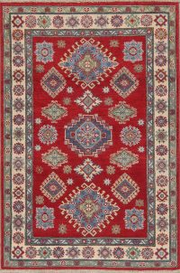 Red Kazak-Chechen Oriental Rug 4x6