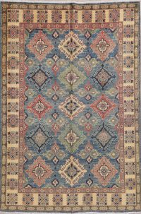 Light Blue Kazak-Chechen Oriental Area Rug 5x8