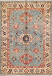 Light Blue Kazak-Chechen Oriental Area Rug 5x7