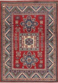 Red Kazak-Chechen Oriental Area Rug 5x7
