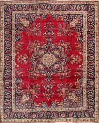 Floral Red Tabriz Persian Area Rug 10x12