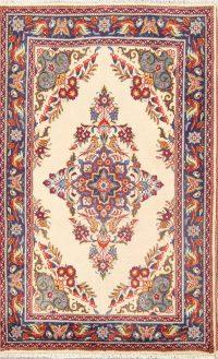 Floral Ivory Sarouk Persian Wool Rug 3x5