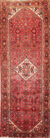 Geometric 4x11 Hamedan Persian Rug Runner