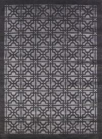Geometric Machine Made Belgium Oriental Area Rug Black 6x9