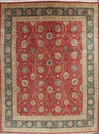 Palace Floral Vegetable Dye Tabriz Persian Hand-Knotted Big 12 x 16 Wool Rug