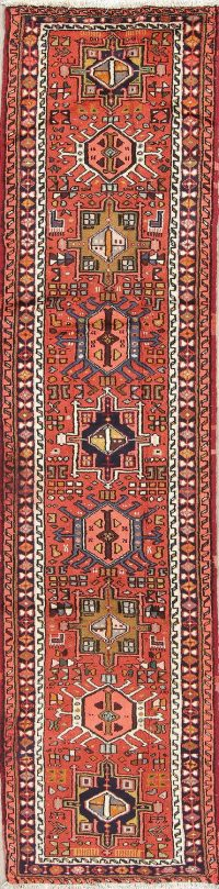 Red Gharajeh Persian Hand-Knotted Runner Rug 2x10