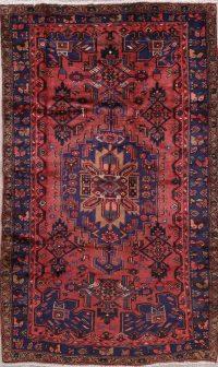 Geometric Hamedan Persian Hand-Knotted 5x8 Wool Area Rug