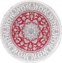 Floral Red Nain Persian Hand-Knotted 7x7 Wool Round Rug