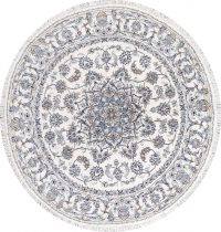 Floral Ivory Nain Persian Hand-Knotted 6x6 Wool Round Rug