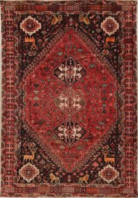 Antique Tribal Qashqai Persian Wool Area Rug 7x10