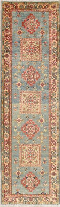 Light Blue Kazak-Chechen Oriental Rug 3x10 Runner