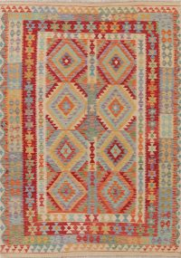 Multi-Color Flat-Weave Turkish Kilim Area Rug 6x8