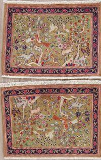 Set of 2 Animal Pictorial Tabriz Persian Wool Rug 2x3