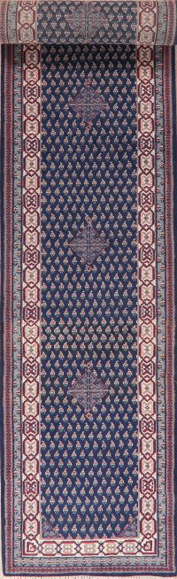 Navy Blue Botemir Indian Oriental Wool Runner Rug