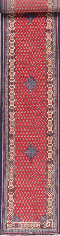 Geometric Red Bidjar Indian Oriental Wool Runner Rugs