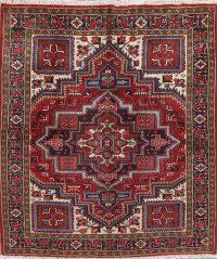 Geometric Red Heriz Persian Wool Rug 5x6