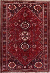 Vintage Tribal Red Shiraz Persian Wool Area Rug 8x11