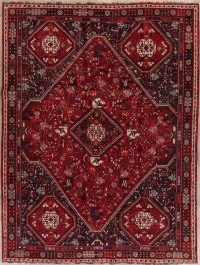 Tribal Geometric Red Abadeh Persian Wool Area Rug 7x9