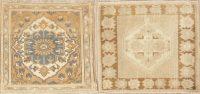 Set of 2 Vintage Oushak Turkish Wool Rugs 2x2 Square