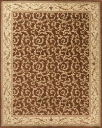 Brown Floral Aubusson Turkish Oriental Area Rug 8x10