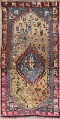 Tribal Vintage Gabbeh Qashqai Persian Wool Rug 4x7