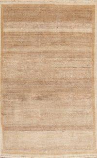 Vintage Brown Gabbeh Shiraz Persian Wool Rug 4x6