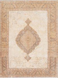 Vintage Ivory Tabriz Persian Wool Rug 5x6