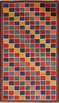 Checked Multi-Color Gabbeh Shiraz Persian Wool Rug 4x6