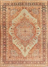 Pre 1900 Vegetable Dye Tabriz Haj Jalili Persian Rug 9x13