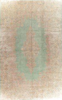 Vintage Green Floral Kerman Persian Wool Rug 13x20