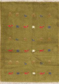 Green Tribal Gabbeh Persian Wool Rug 3x5