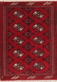 Geometric Red Balouch Persian Wool Rug 3x5