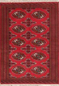 Geometric Red Balouch Oriental Wool Rug 3x5