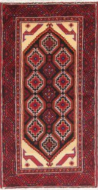 Black Geometric Balouch Afghan Oriental Runner Rug 3x6