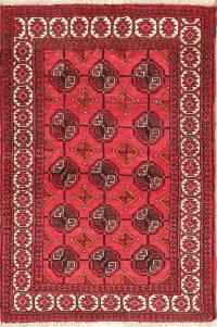 Geometric Red Balouch Oriental Wool Rug 4x6