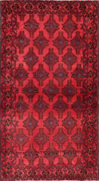 Vintage Geometric Red Balouch Oriental Wool Rug 4x7