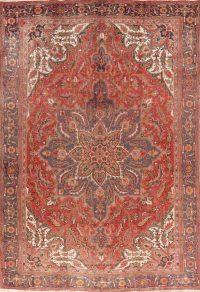 Vintage Floral Red Heriz Persian Wool Area Rug 8x12