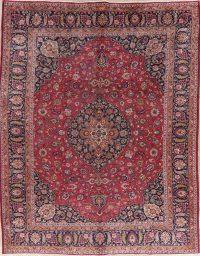 Vintage Floral Red Mashad Persian Wool Area Rug 10x12