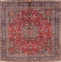 Vintage Floral Red Mashad Persian Wool Rug 9x9 Square